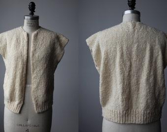 Vintage Cream Wool Handmade Knitted Sweater Vest Minimal Textured Bouclé Cap Sleeve