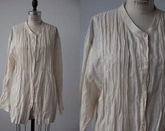 Vintage Natural Ivory Crinkled Pin tuck Pleated Tunic Blouse M-L
