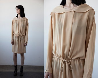 Vintage SILK Dress with Draped Collar Hood in Marigold Minimal 90s Minimalist M-L