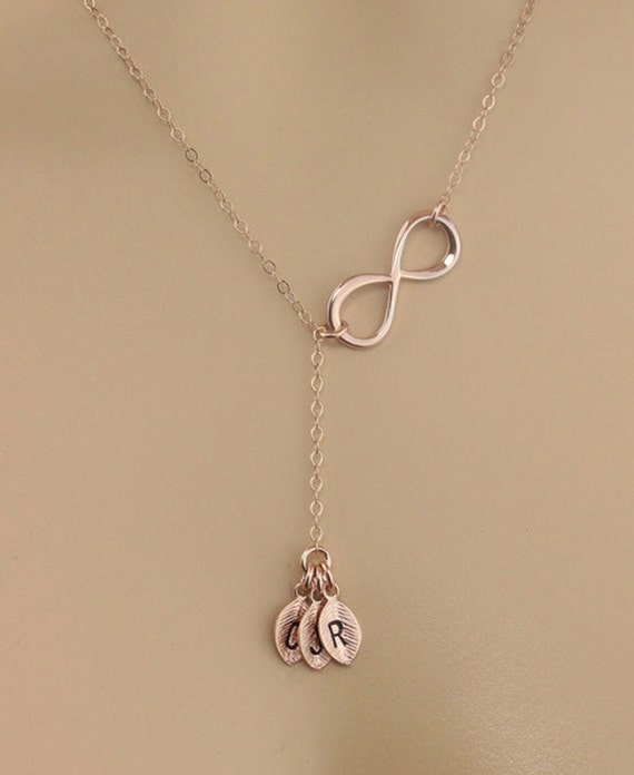 Personalized rose gold infinity necklace custom initial charm for Rose gold personalized jewelry