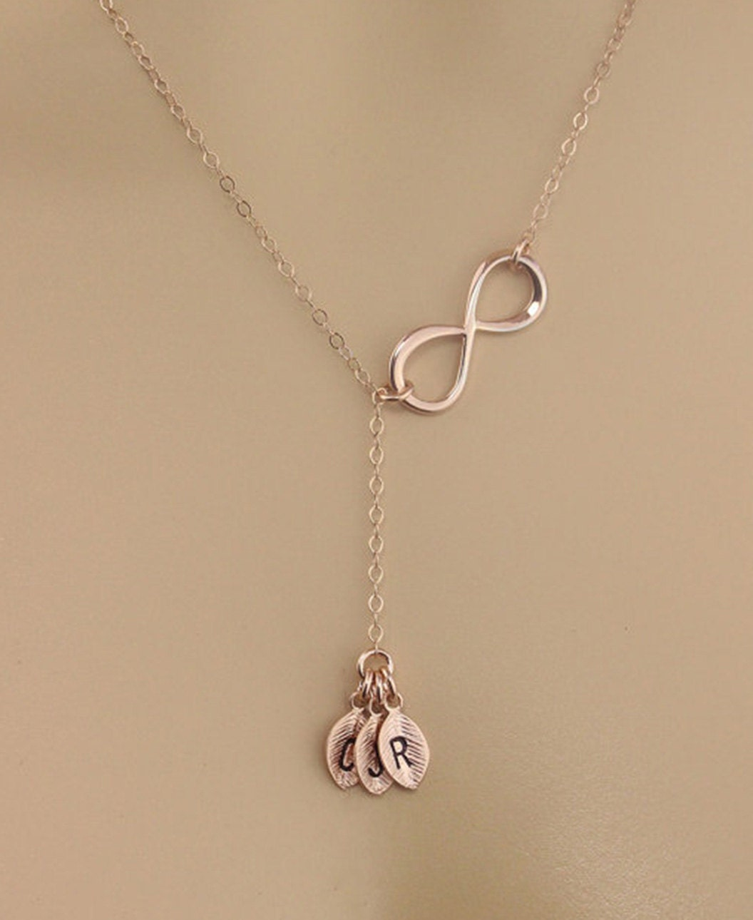 Sale personalized rose gold infinity necklace y necklace for Rose gold personalized jewelry