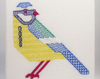 Blue Tit Blackwork Embroidery