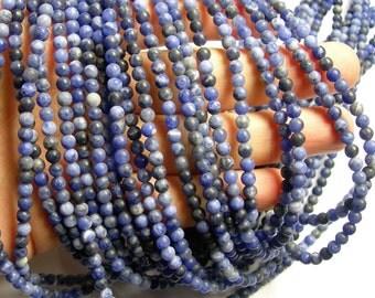 Sodalite matte - 4 mm round beads - 1 full strand - 92 beads - Matte sodalite A quality -RFG1097