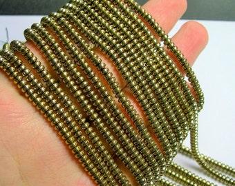 Hematite Gold - 4x2 rondelle beads - 1 full strand - 188 beads - AA quality - 4mmx2mm - PHG216