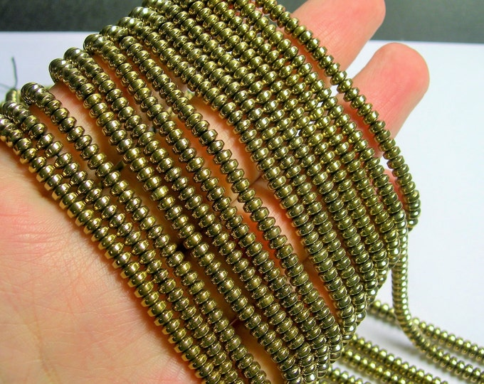 Hematite Gold - 4x2 rondelle beads - 1 full strand - 188 beads - AA quality - 4mmx2mm - PHG216