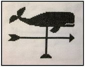 PDF E pattern emailed download Nautical Whale Weather Vane Cross Stitch Pattern Sampler 162