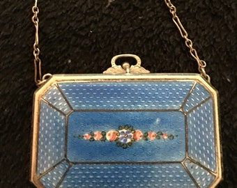 SALE  Antique compact Gulioche enamel dance purse