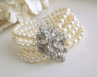 ivory swarovski pearl and crystal Bracelet Statement Bridal Bracelet Bridal Cuff Wedding Rhinestone Bracelet swarovski crystal YESENIA