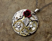 Red Rose Steampunk Necklace, Victorian, Round Watch Base, Brass Gears, Silver Leaf