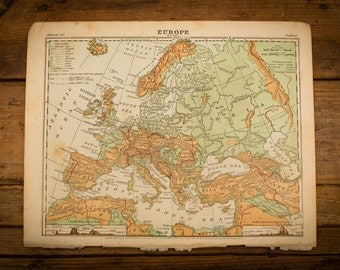 "1871 Europe Map, 12"" x 9.5"", Antique Illustrated Book Page, 1800s"