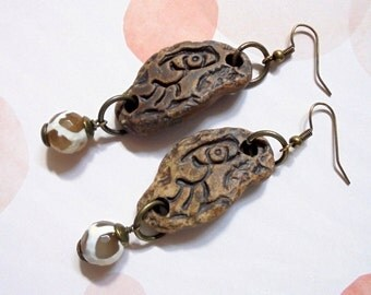 Rustic Brown and White Tribal Earrings (2891)