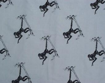 Monkey Fabric Swinging Hot Diggity Dog Fabric 1yd