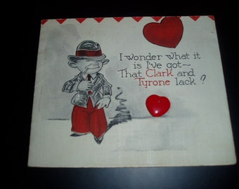 Vintage 40s USA Comic Valentine with Keepsake Heart Charm Unused