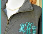 Monogram Quarter zip - Monogram Fleece Jacket - Monogram Fleece Pullover - Personalized Fleece Jacket - SALE