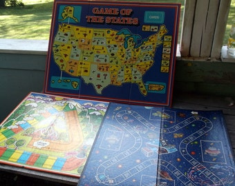 Lot of 3 Vintage Game Boards for Upcycle or Retro Home Decor Game of the States I think I Can and Vocabulary Building