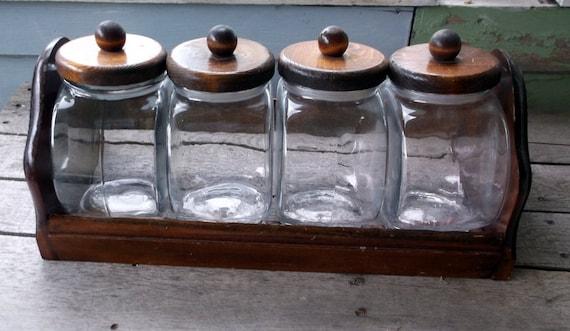 vintage glass jar with wooden lids and wooden rack canister. Black Bedroom Furniture Sets. Home Design Ideas