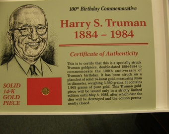 Harry S Truman 1984 Commemorative 14k Gold Coin - Original