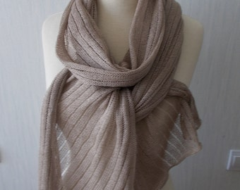 Linen Cotton Scarf Shawl Knitted Natural Summer Wrap in Light Brown