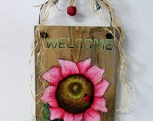 Pink Flower Welcome Sign, Hand Painted on Reclaimed Barn Wood, Welcome Sign, Pink Flowers, Reclaimed Barn Wood, Tole Painted, Hanging Sign