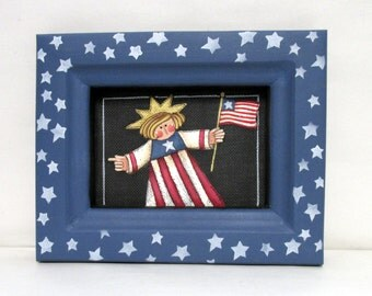 Liberty Lady holding American Flag, Tole Painted Patriotic Theme, Americana Theme, Red, White, and Blue Colors,USA Flag Reclaimed Wood Frame