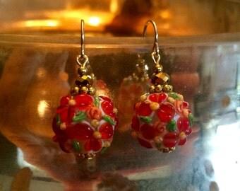 Floral Glass Lampwork Earrings