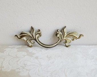 Vintage Ornate Brass Drawer Pull Handle White Gold Metal French Provincial, Furniture Restoration Hardware