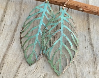 Green Blue Patina Copper Cutout Leaf Earrings