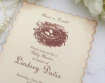 Nest Invitations Bird Nest Invite Bird Egg Invitations Neutral Set of 10