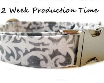 Wedding Dog Collar - Grey and White Lattice