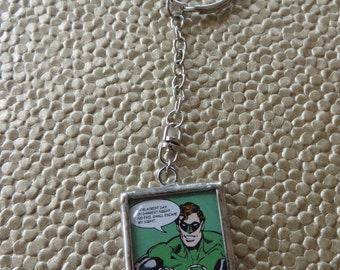 Metal Green Lantern Keychain With Images On Both Sides