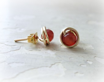 Orange Agate Stud Earrings, Tiny Gold Posts, Wire Wrapped Earrings, Gemstone Studs, Faceted Post Earrings, Gold Stud Earrings, Orange Posts