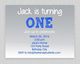 Blue Birthday Invitation , Boys Birthday Party , Grey Blue Invitation , 1st Birthday Invitation , Classy Birthday Invitation