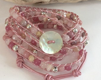Pink & Rose Gemstone Multi-wrap Leather Bracelet with Stering Silver Beads