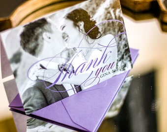 """Wedding Thank You Card, Classic Thank You, Newlywed Thank You, Purple and Black - """"Classic Romance"""" Folded Photo Thank You Cards - DEPOSIT"""