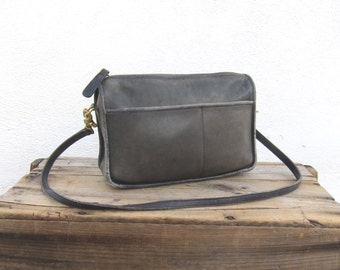 70s  Coach Distressed Small Black Leather Shoulder Bag