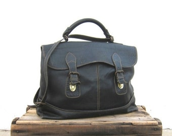 Satchel Briefcase Black Blue Large Laptop Work Bag w/Shoulder Bag