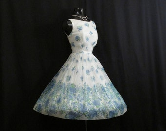 Vintage 1950's 50s Blue White Watercolor Floral Print Chiffon Organza Party Prom Wedding Dress Gown