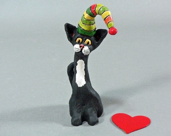 OREO, A Whimsical Ceramic Party Animal Cat Sculpture