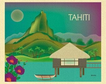 Tahiti Skyline Art Print, Tahiti Travel Wall Art, Tahiti horizontal art print, Tahiti bon voyage gift, Tahiti Poster Art - style E8-O-TAH
