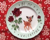 Be My Valentine Flower Deer and Roses Vintage Illustrated Valentines Day Plate