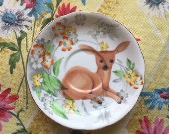 Vintage Deer with Bright Floral Vintage Illustrated Plate