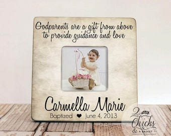 Godparents Are A Gift From Above Picture Frame, Personalized Baptism Frame, Godparent Gift Idea