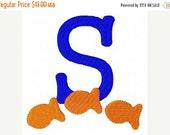 SALE INSTANT DOWNLOAD Goldfish Monogram Machine Embroidery Font Design Set