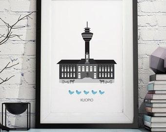 Kuopio, city print, city poster