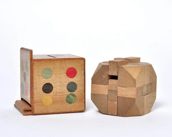Vintage Wooden Puzzle Dice Bank and Wooden Puzzle Cube Game Japan