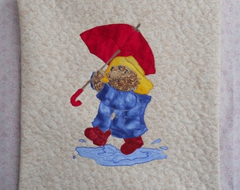 Paddington Bear Pillow 12 x 12 Raincoat and Puddle