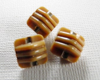 Small Vintage Toast Brown Glass Buttons Art Deco
