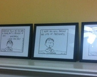 Peanuts Charlie Brown Great Pumpkin comic strip - enlarged / Linus