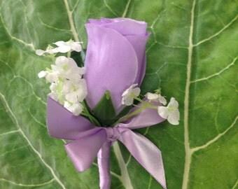Silk Lavender Rose Boutonniere, Lavender Bout, Lavender Men's Lapel Flower, Lavender Buttonhole