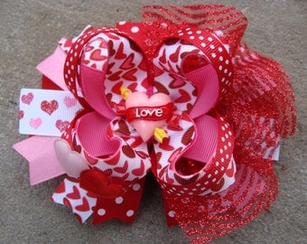 Valentine Hair Bow - Boutique Stacked Hair Bow Hair Clip large hair bow fancy hair bow pink red white hair bow